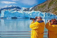 """Tourist Couple On A Klondike Express Glacier Cruise Tour View Surprise Glacier Harriman Fjord, Alaska"""