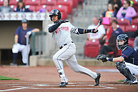 Wisconsin Timber Rattlers Monte Harrison (3) swings during a game against the Cedar Rapids Kernels at Veterans Memorial Stadium on April 13, 2017 in Cedar Rapids, Iowa.  The Kernels won 2-1.  (Dennis Hubbard/Four Seam Images)