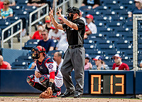 27 February 2019: MLB Umpire Shane Livensparger shows the count as the pitch clock counts down during a Spring Training game between the Houston Astros and the Washington Nationals at the Ballpark of the Palm Beaches in West Palm Beach, Florida. The Nationals defeated the Astros 14-8 in their Spring Training Grapefruit League matchup. Mandatory Credit: Ed Wolfstein Photo *** RAW (NEF) Image File Available ***