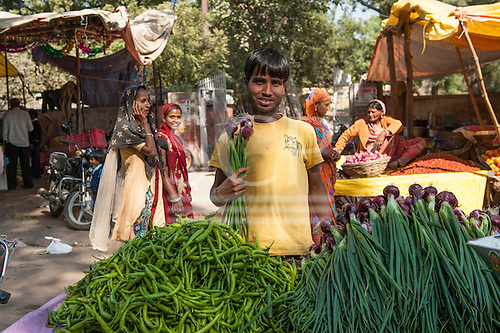 Rajasthan, India. Ranthambore National Park. Young man selling onions in the market with tiger t shirt.
