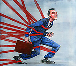Businessman trapped in red tape
