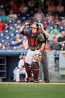 Nashville Sounds catcher Bruce Maxwell (36) tracks a pop up during a game against the New Orleans Baby Cakes on April 30, 2017 at First Tennessee Park in Nashville, Tennessee.  The game was postponed due to inclement weather in the fourth inning.  (Mike Janes/Four Seam Images)