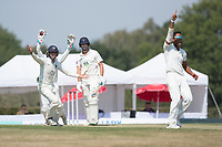 Middlesex appeal and celebrate as Thilan Walallawita dismisses caught behind by John Simpson during Middlesex CCC vs Hampshire CCC, Bob Willis Trophy Cricket at Radlett Cricket Club on 11th August 2020