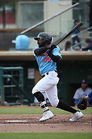 Kevin Williams jr. (20) of the  Inland Empire 66ers bats against the Stockton Ports at San Manuel Stadium on May 26, 2019 in San Bernardino, California. (Larry Goren/Four Seam Images)