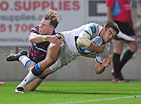 1st October 2021;  Ashton Gate Stadium, Bristol, South Gloucestershire, England; Gallagher Premier League rugby, Bristol Bears versus Bath Rugby: Will Muir of Bath dives to score a try under pressure from Ioan Lloyd of Bristol Bears
