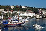 Greece, Corfu, Kassiopi: View over harbour