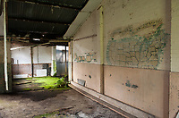 ©Si Barber 07739 472 922. <br /> A mural depicting  a map of the USA in derelict buildings at former US Air Force base RAF Flixton, Suffolk.<br /> <br /> USAGE TERMS: ONE USE IN PRINT AND ONLINE. NO SYNDICATION, RETENTION, OR THIRD PARTY SALES. MINIMUM FEES APPLY