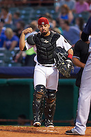 Tri-City ValleyCats catcher Richard Gonzalez (11) during a game against the Brooklyn Cyclones on September 1, 2015 at Joseph L. Bruno Stadium in Troy, New York.  Tri-City defeated Brooklyn 5-4.  (Mike Janes/Four Seam Images)