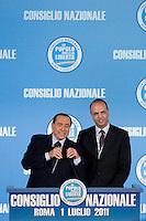 CONSIGLIO NAZIONALE DEL POPOLO DELLA LIBERTA ED ELEZIONE DEL NUOVO SEGRETARIO DEL PARTITO ANGELINO ALFANO...NELLA FOTO SILVIO BERLUSCONI E ANGELINO ALFANO..ROMA 1 LUGLIO  2011..PHOTO SERENA CREMASCHI INSIDEFOTO..............................