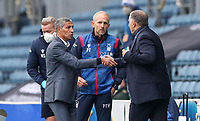 Nottingham Forest manager Chris Hughton shakes hands with Blackburn Rovers manager Tony Mowbray after the match<br /> <br /> Photographer Alex Dodd/CameraSport<br /> <br /> The EFL Sky Bet Championship - Blackburn Rovers v Nottingham Forest - Saturday 17th October 2020 - Ewood Park - Blackburn<br /> <br /> World Copyright © 2020 CameraSport. All rights reserved. 43 Linden Ave. Countesthorpe. Leicester. England. LE8 5PG - Tel: +44 (0) 116 277 4147 - admin@camerasport.com - www.camerasport.com