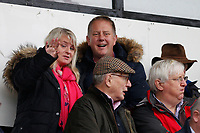 Fans spot the camera during the Greene King IPA Championship match between London Scottish Football Club and Ampthill RUFC at Richmond Athletic Ground, Richmond, United Kingdom on 26 October 2019. Photo by Carlton Myrie.
