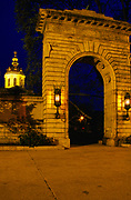 The State Capitol Building in Concord, New Hampshire at night. Built on land donated by the Town of Concord, and constructed of local granite, the State Capital Building was built in 1816 -1819. Founded in 1623, New Hampshire was one of the 13 original colonies of the United States.
