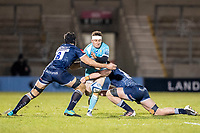 8th January 2021; AJ Bell Stadium, Salford, Lancashire, England; English Premiership Rugby, Sale Sharks versus Worcester Warriors; Duncan Weir of Worcester Warriors is tackled by Josh Beaumont of Sale Sharks