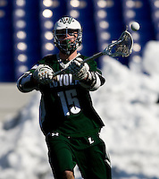 Matt Langan (15) of Loyola passes the ball at the Navy-Marine Corp Memorial Stadium in Annapolis, Maryland.   Loyola defeated Navy, 8-7, in overtime.