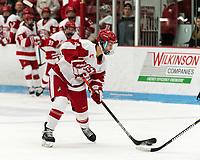 BOSTON, MA - JANUARY 04: Deziray De Sousa #8 of Boston University takes a shot during a game between University of Maine and Boston University at Walter Brown Arena on January 04, 2020 in Boston, Massachusetts.