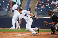 Tampa Yankees second baseman Nick Solak (39) at bat in front of catcher Christian Kelley during the first game of a doubleheader against the Bradenton Marauders on April 13, 2017 at George M. Steinbrenner Field in Tampa, Florida.  Bradenton defeated Tampa 4-1.  (Mike Janes/Four Seam Images)