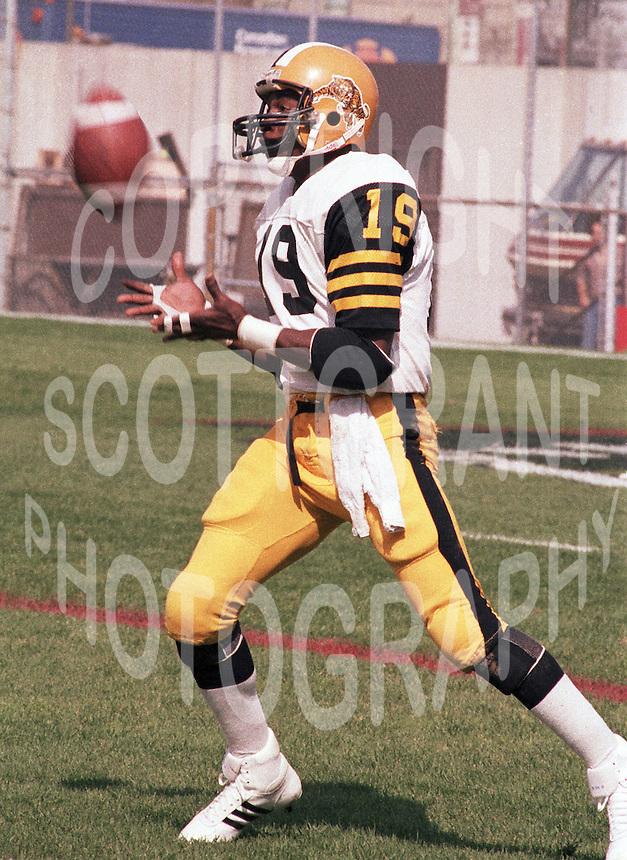 Johnny Shepherd Hamilton Tiger Cats 1983. Copyright photograph Scott Grant/