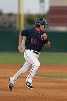 Jamie Ritchie (21) of the Lancaster JetHawks runs the bases during a game against the Bakersfield Blaze at The Hanger on August 5, 2015 in Lancaster, California. Bakersfield defeated Lancaster, 12-5. (Larry Goren/Four Seam Images)