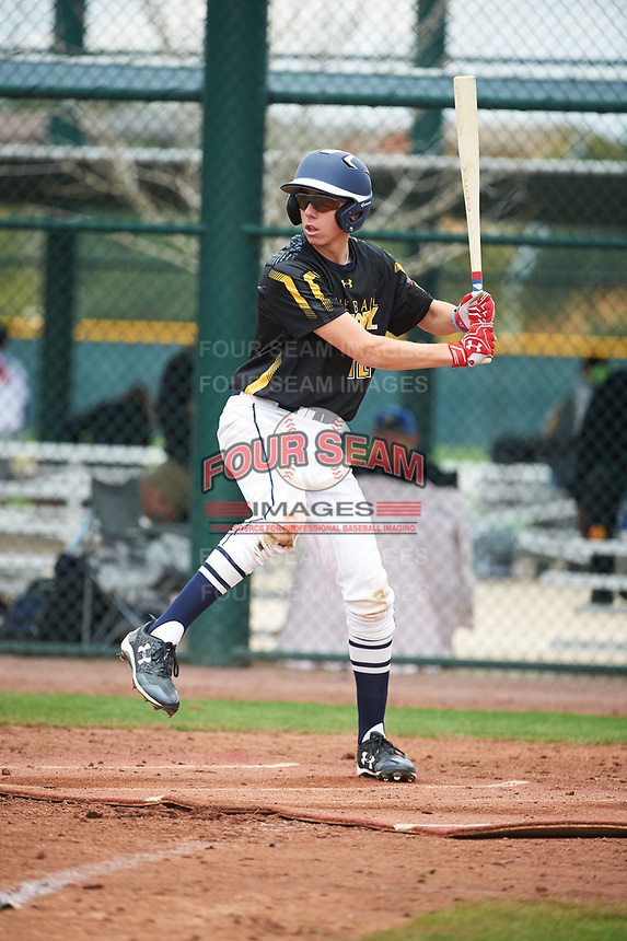 Sage Pera (12) of Mission College Prep High School in Templeton, California during the Under Armour All-American Pre-Season Tournament presented by Baseball Factory on January 15, 2017 at Sloan Park in Mesa, Arizona.  (Art Foxall/MJP/Four Seam Images)