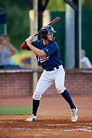 Elizabethton Twins catcher Andrew Cosgrove (5) at bat during a game against the Bristol Pirates on July 28, 2018 at Joe O'Brien Field in Elizabethton, Tennessee.  Elizabethton defeated Bristol 5-0.  (Mike Janes/Four Seam Images)