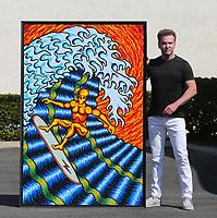 July, 1, 2021. Vista. CA. USA.| Surfer 5, Artist J. Scott Lytle. 6' X 4'. Acrylic on board | Jamie Scott Lytle. Copyright.