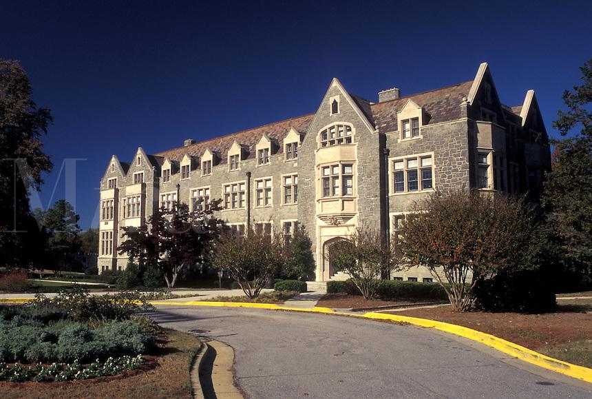 university, Atlanta, GA, Georgia, Grey stone building on the campus of Oglethorpe University.
