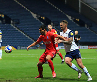 31st October 2020; Deepdale Stadium, Preston, Lancashire, England; English Football League Championship Football, Preston North End versus Birmingham City; Maxime Colin of Birmingham City  shields the ball from Patrick Bauer of Preston North End