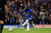 22nd September 2021; Stamford Bridge, Chelsea, London, England; EFL Cup football, Chelsea versus Aston Villa; Romelu Lukaku of Chelsea scores a penalty during the penalty shootout
