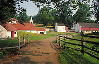 scenic shot of dirt road leading in to Hopewell Furnace National Historic Site. Pennsylvania USA.