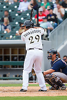 Matt Tuiasosopo (29) of the Charlotte Knights at bat against the Pawtucket Red Sox at BB&T Ballpark on August 10, 2014 in Charlotte, North Carolina.  The Red Sox defeated the Knights  6-4.  (Brian Westerholt/Four Seam Images)