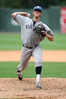 Starting pitcher Zach Jemiola (27) of the Asheville Tourists delivers a pitch in a game against the Greenville Drive on Sunday, July 20, 2014, at Fluor Field at the West End in Greenville, South Carolina. Asheville won game two of a doubleheader, 3-2. (Tom Priddy/Four Seam Images)