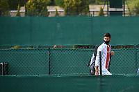 11th April 2021; Roquebrune-Cap-Martin, France;  Novak Djokovic Ser arrives for practise sessions for the  Rolex Monte Carlo Masters