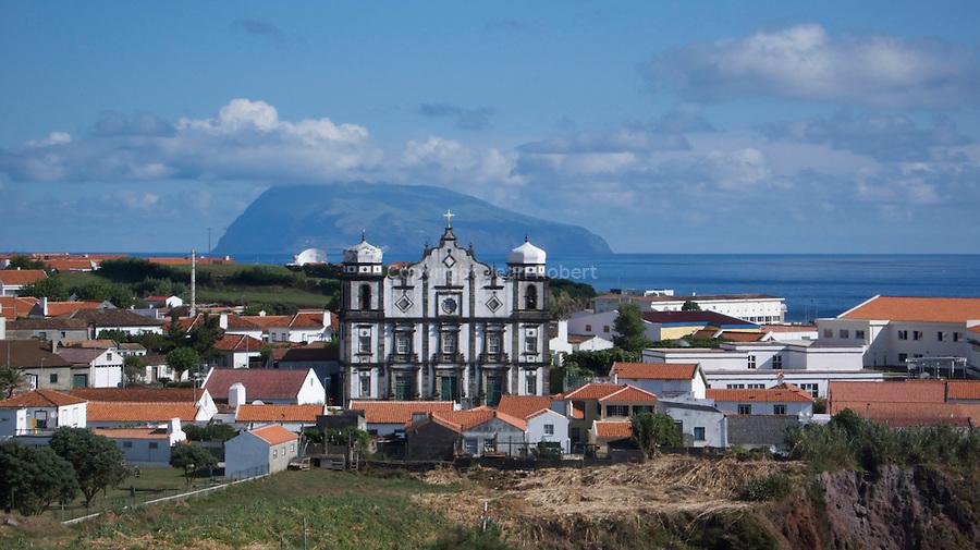 View of Santa Cruz and the baroc church on Flores island