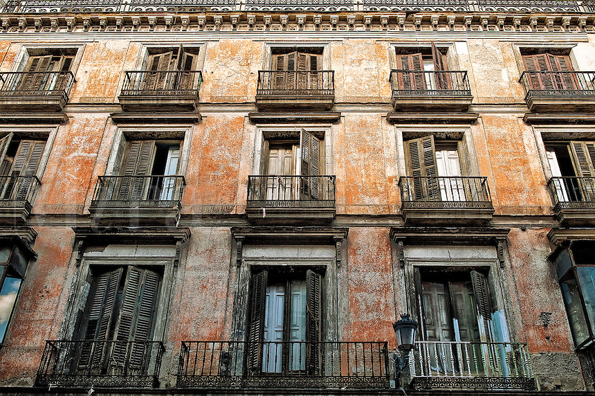Burned out buiding facade in old city, Madrid, Spain