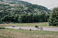 the last survivors of the breakakway group feel/see the peloton approaching up the last climb towards the finish<br /> <br /> Stage 5: Grenoble > Valmorel (130km)<br /> 70th Critérium du Dauphiné 2018 (2.UWT)