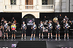 EF Education-Nippo on stage at team presentation of the 2021 Giro d'Italia inside the Cortile d'Onore of the Castello del Valentino, on the occasion of the 160th anniversary of the Unification of Italy, Turin, Italy. 6th May 2021.  <br /> Picture: LaPresse/Fabio Ferrari | Cyclefile<br /> <br /> All photos usage must carry mandatory copyright credit (© Cyclefile | LaPresse/Fabio Ferrari)