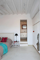 traditional cycladic bedroom with private bathroom