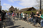 The breakaway led by Vladimir Isaichev (RUS) Katusha Team approach the start of the Koppenberg climb during the 96th edition of The Tour of Flanders 2012, running 256.9km from Bruges to Oudenaarde, Belgium. 1st April 2012. <br /> (Photo by Steven Franzoni/NEWSFILE).