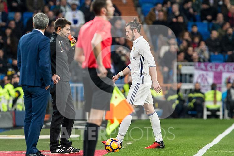 Garet Bale of Real Madrid seen red card during the match of Spanish La Liga between Real Madrid and UD Las Palmas at  Santiago Bernabeu Stadium in Madrid, Spain. March 01, 2017. (ALTERPHOTOS / Rodrigo Jimenez)