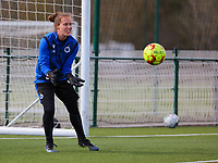 goalkeeper Elke Geeraert (25) of Club Brugge gets ready for a catch during the warm up before  a female soccer game between Oud Heverlee Leuven and Club Brugge YLA on the 18 th and last matchday before the play offs of the 2020 - 2021 season of Belgian Womens Super League , saturday 27 th of March 2021  in Heverlee , Belgium . PHOTO SPORTPIX.BE | SPP | SEVIL OKTEM