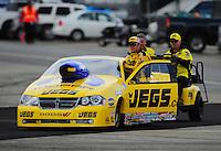 Feb. 11, 2012; Pomona, CA, USA; NHRA pro stock driver Jeg Coughlin during qualifying for the Winternationals at Auto Club Raceway at Pomona. Mandatory Credit: Mark J. Rebilas-
