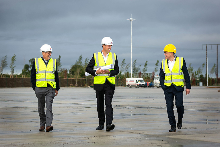 Alec Colvin, DFT Terminal Director, Declan Freeman, Managing Director of ICG's Container and Terminal Division, Cormac Kennedy, Head of Property at Dublin Port Company at the new €48m Dublin Inland Port which Dublin Port Company opens in November and where DFT is the first company awarded a licence to operate at the state-of-the-art logistics facility in North Dublin