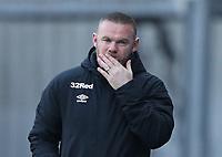 16th April 2021; Ewood Park, Blackburn, Lancashire, England; English Football League Championship Football, Blackburn Rovers versus Derby County; Derby County manager Wayne Rooney looks pensive