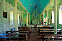 Interior of St. Philomena Church (built in 1872 by Father Damien), Kalalwao District on the Kalaupapa peninsula