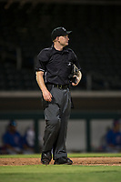 Home plate umpire Austin Nelson during an Arizona League game between the AZL Rangers and the AZL Cubs 2 at Sloan Park on July 7, 2018 in Mesa, Arizona. AZL Rangers defeated AZL Cubs 2 11-2. (Zachary Lucy/Four Seam Images)