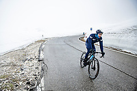 Albert Torres (ESP/Movistar) coming over the Passo Giau<br /> <br /> due to the bad weather conditions the stage was shortened (on the raceday) to 153km and the Passo Giau became this years Cima Coppi (highest point of the Giro).<br /> <br /> 104th Giro d'Italia 2021 (2.UWT)<br /> Stage 16 from Sacile to Cortina d'Ampezzo (shortened from 212km to 153km)<br /> <br /> ©kramon