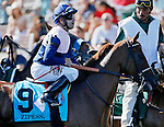 ARLINGTON HEIGHTS, IL - AUGUST 13: Zipessa #9, ridden by Joe Bravo, during the post parade before the Beverly D. Stakes at Arlington International Racecourse on August 13, 2016 in Arlington Heights, Illinois. (Photo by Jon Durr/Eclipse Sportswire/Getty Images)