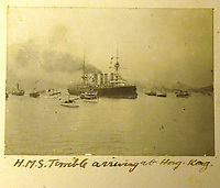 BNPS.co.uk (01202) 558833<br /> Pic: Charles Miller/BNPS<br /> <br /> HMS Terrible arriving at Hong Kong<br /> <br /> A fascinating photo album compiled by a British naval officer on tour in the Far East at the turn of the 20th century has come to light.<br /> <br /> Taprell Dorling served on the HMS Terrible in 1900 at the start of an over 30 year career at sea.<br /> <br /> The album, containing 74 photos, has emerged for sale with auctioneers Charles Miller, of London, with an estimate of £3,000.