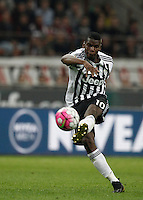 Calcio, Serie A: Milan vs Juventus. Milano, stadio San Siro, 9 aprile 2016. <br /> Juventus' Paul Pogba kicks the ball during the Italian Serie A football match between AC Milan and Juventus at Milan's San Siro stadium, 9 April 2016.<br /> UPDATE IMAGES PRESS/Isabella Bonotto
