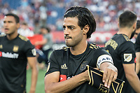FOXBOROUGH, MA - AUGUST 3: Carlos Vela #10 of Los Angeles FC during a game between Los Angeles FC and New England Revolution at Gillette Stadium on August 3, 2019 in Foxborough, Massachusetts.